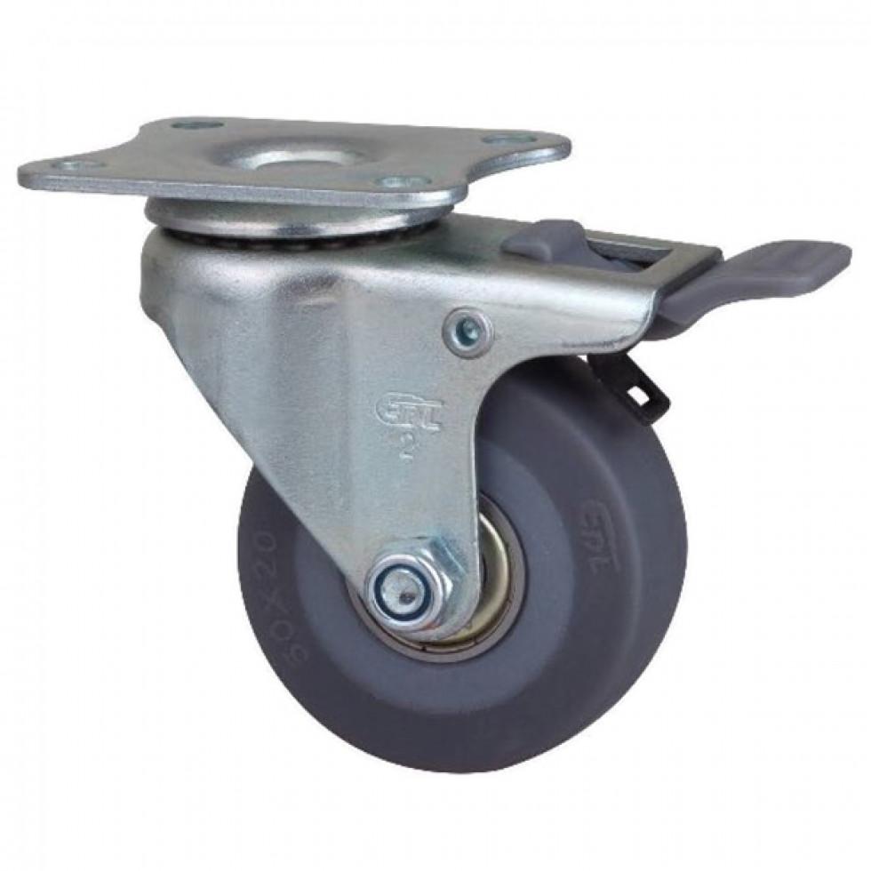 roue roulette 2 pouces plaque pivotante avec frein. Black Bedroom Furniture Sets. Home Design Ideas