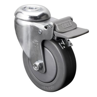 Roue 4 pouces avec boulon central et frein - Fini chrome (Livraison gratuite partout au Québec pour les achats de 40$ et plus à l'exception du grand nord)