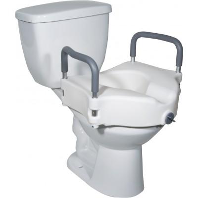 Siège de toilette surélevé verrouillable 2 en 1 avec bras amovibles sans outil